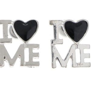 Mi Amore | I Heart Me Post Silver/Black Earrings